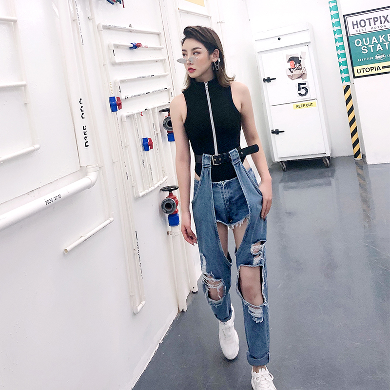 Spring Summer Big Hole Ripped Belt Jeans Woman Open Knee Casual Harem Trousers Student Fashion Hip Hop Streetwear Denim Pants