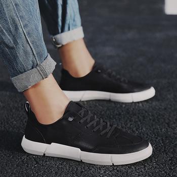 Męskie obuwie skórzane modne czarne buty męskie odkryte modne buty na niskim obcasie dorosłe mokasyny homme Chaussure Homme obuwie tanie i dobre opinie WOSHI Skóra Split RUBBER F-96883 Gumką Pasuje prawda na wymiar weź swój normalny rozmiar Stałe Oddychające Masaż