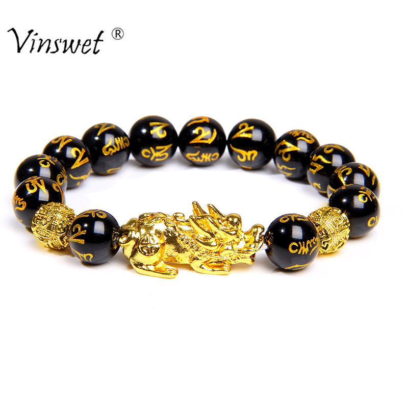 13 Styles Buddha Six Words Bracelets For Men Natural Black Obsidian Bracelet Gold Pixiu Bracelet Fengshui Bangle Women Jewelry