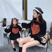 Family Matching Outfits 2019 Parent-child Cute Love Look Sweaters Mother Kids Girls Boys Knit Sweater