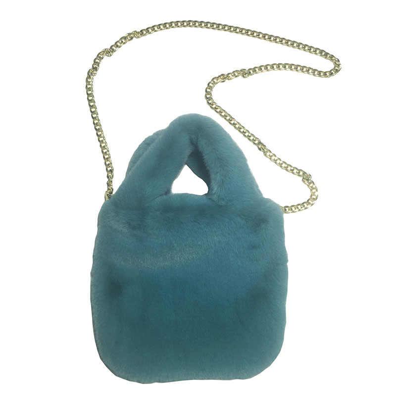 Bolso de moda de felpa de caramelo para mujer bolsos de diseñador cadenas de piel sintética de lujo bandolera para mujer monedero de invierno