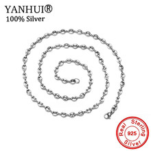 Never Fade Coffee Beans Link Chain 5MM Necklace 925 Solid Silver Men Women Rope 60cm Chain Fashion Necklaces Hip hop Jewelry(China)