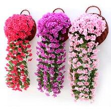 Фиолетовый искусственный цветок, украшение для вечеринки, имитация Дня Святого Валентина, свадебная настенная корзина, цветок орхидеи, искусственный цветок