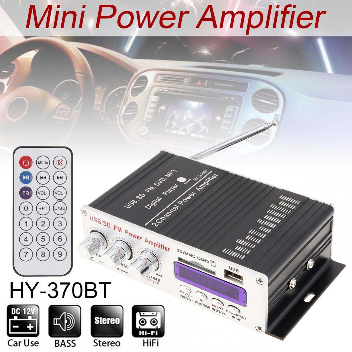 Remote Control Bluetooth 2CH HI-FI Car Audio High Power Amplifier FM Radio Player Support SD /USB/ MP3 for Car Motorcycle