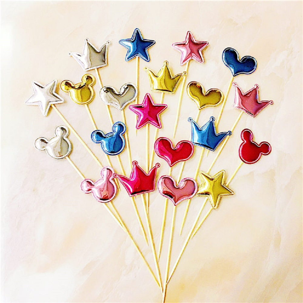 5pcs/lot Mini Heart Star Crown Cake Topper Happy Birthday Cupcake Baby Shower Kids Party Wedding Decoration Supplies