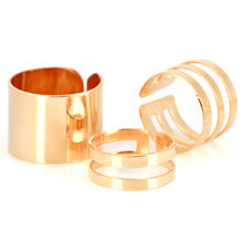 3pcs Sliver/Gold Three-piece Hollow Geometric Ring, Fashion Trend All-match Jewelry(China)