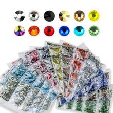 QIAO Mixed Size 1440Pcs/lot Hotfix Rhinestone SS6 SS8 SS10 SS16 SS20 Mix Iron on Rhinestones Crystals Glass for Clothes DIY
