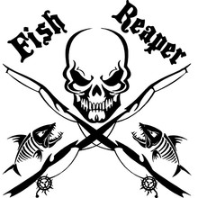 17CM*17CM Fish Reaper Skull Fishing Rod Car Boat Truck Window Vinyl Decal Graphic Sticker Stylings Black