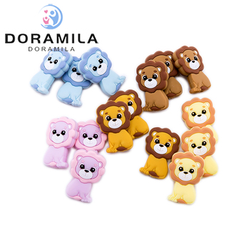 10pc Silicone Teether Food Grade Silicone Mini Lion Beads Bpa Free Baby Teething For DIY Pacifier Pendant Rodents Beads bopoobo 20pc silicone mini crown beads baby teething beads silicone grass pearls food grade silicone rodents baby teether