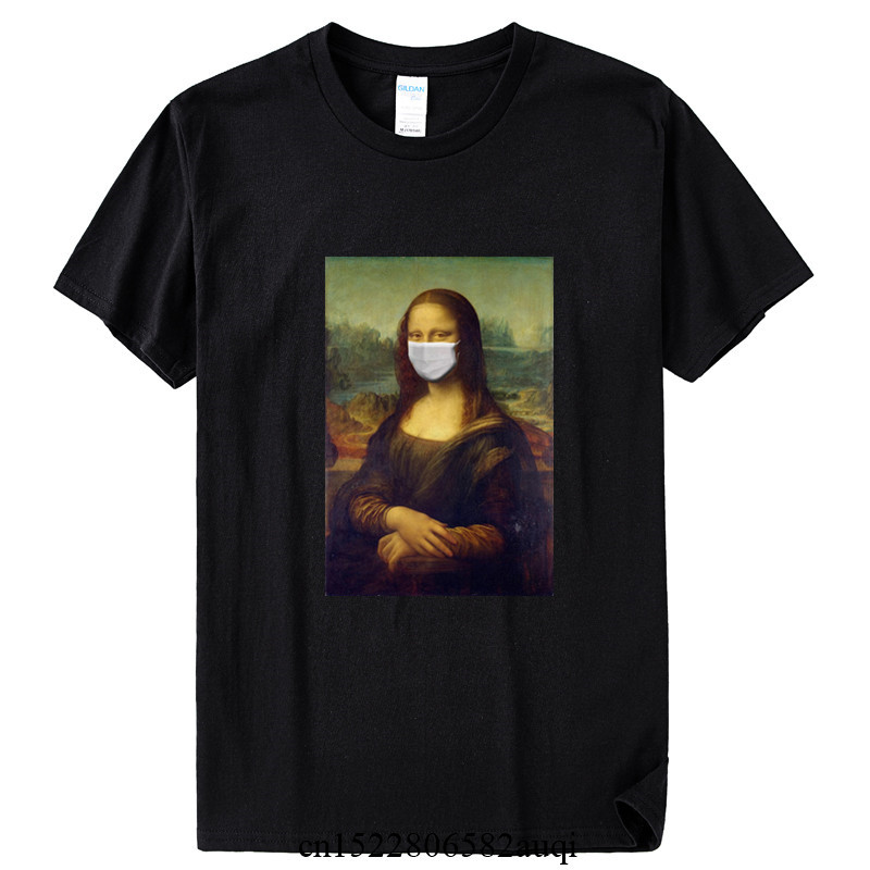 New 2020 Mona Lisa With The Mask Funny T Shirt Men Women Summer Cotton T-shirt Boy Girl Clothes,Drop Shipping