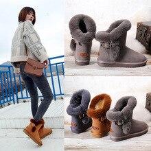 2019 Ugged mujeres zapatos de piel de vaca conejo pelo invierno botas de nieve mujeres grueso invierno antideslizante caliente hebilla de cinturón de algodón botas A166