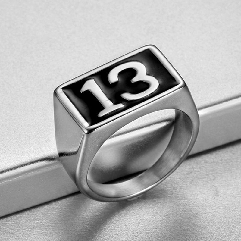 Frete grátis punk 316l aço inoxidável cor de prata cor preta esmalte número 13 anel treze anéis tamanho dos eua 7-15 #