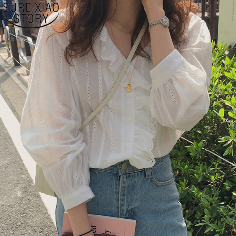 2020 Korean Style Solid Cotton Simple Womens Tops and Blouses Sweet Ruffled V-neck Long Sleeve Shirt Women Ladies Tops 8561 50(China)