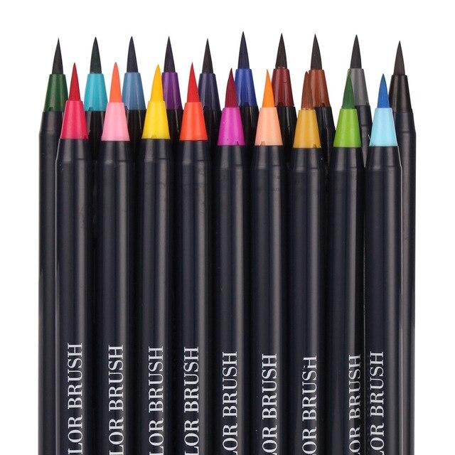 20PCS Colori Art Marker Acquerello Pennello Penne per la Scuola Forniture di Cancelleria Disegno Libri Da Colorare Manga Calligrafia 2
