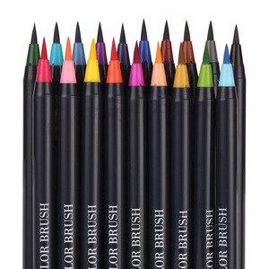 20 шт цветов художественный маркер акварельные кисти ручки для школьных принадлежностей Канцтовары для рисования раскраски манга каллиграфия