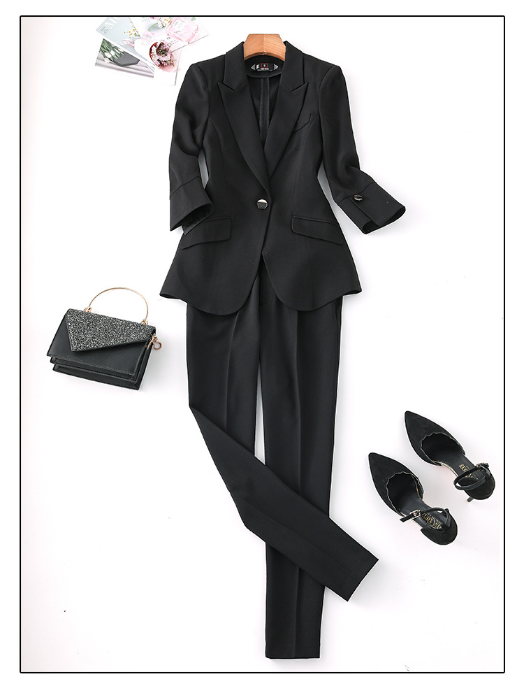 H2418cd820a804561bb789975ac78ded1N - Black Apricot Female Elegant Women's Suit Set Blazer and Trouser Pant Business Uniform Clothing Women Lady Tops and Blouses