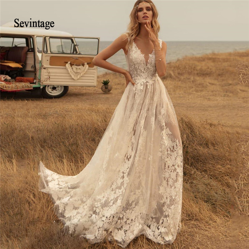 Sevintage Newest Deep V Neck Boho Wedding Dresses Country Lace Appliqued Backless Bridal Gown Sweep Train Robe De Mariée 2020