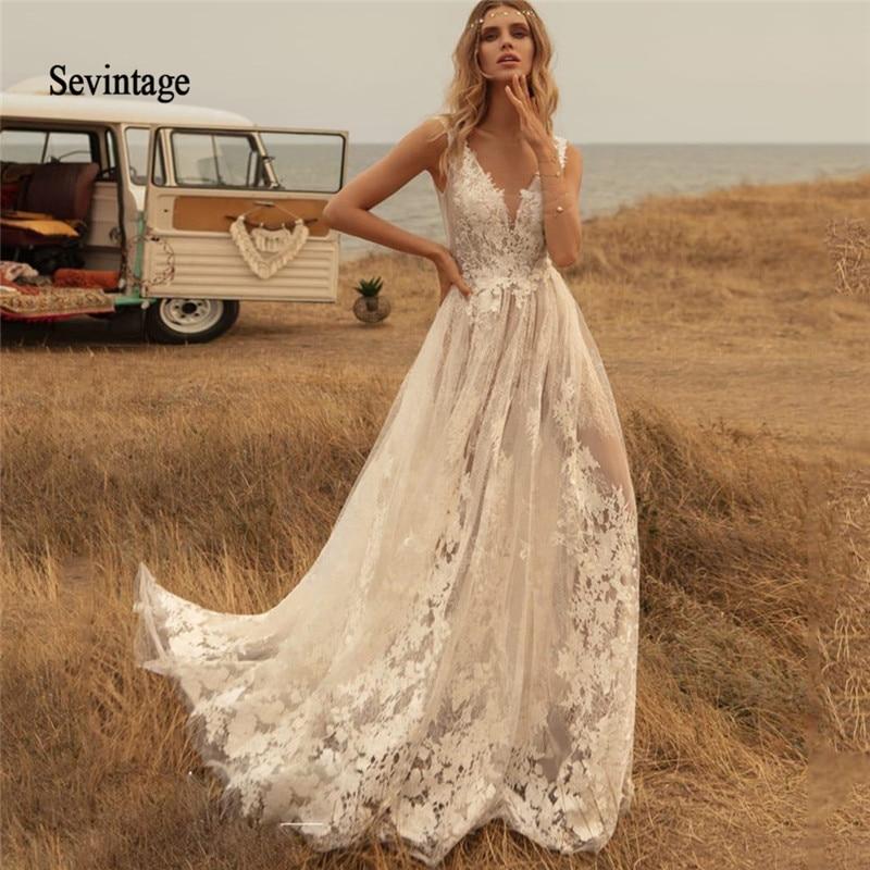 Sevintage Newest Deep V Neck Boho Wedding Dresses Country Lace Appliqued Backless Bridal Gown Sweep Train Robe De Mariée 2020