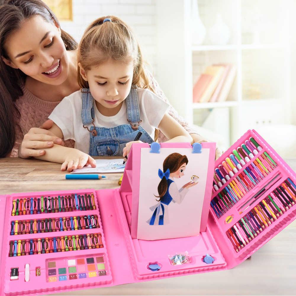 Kit de dibujo para niños, conjunto para arte y pintura de acuarela,  bolígrafos de colores al agua, lápiz de colores, pasteles al óleo, caja de  arte portátil, 208 Uds.|Set de arte| -