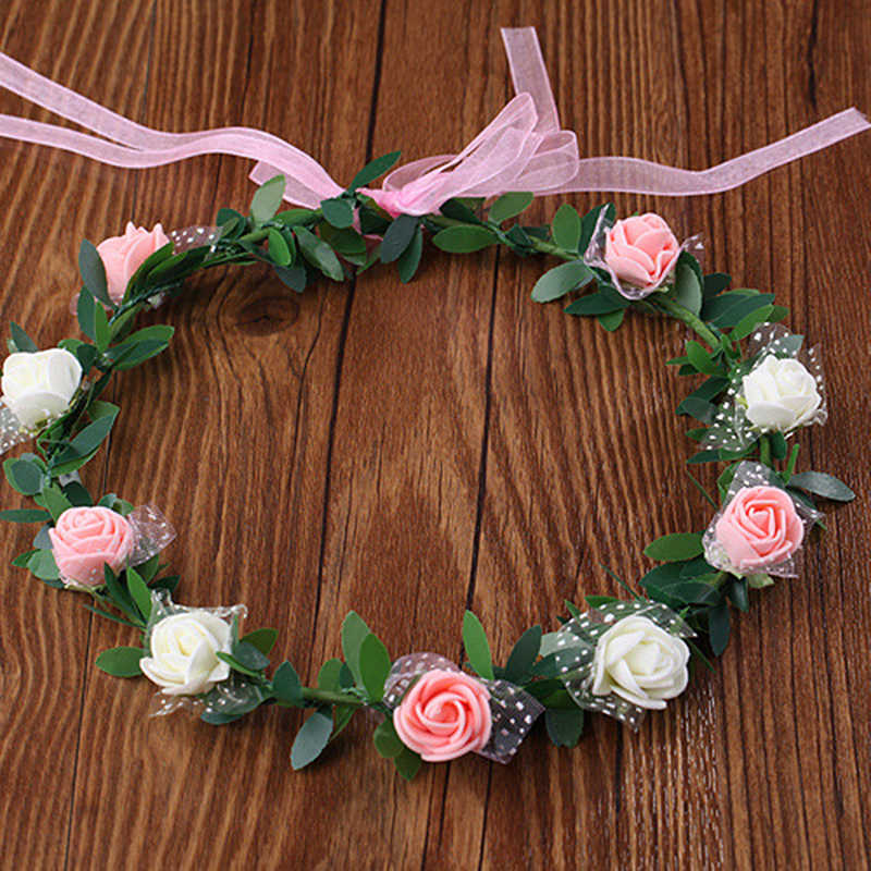 Свадебная повязка на голову для невесты, модный Женский Детский Свадебный веночек с цветами для девочек, цветочные гирлянды, лента для волос, аксессуары для волос