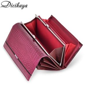 Image 4 - DICIHAYA Women Clutch Genuine Leather Wallet Female Long Wallets Women Zipper Purse Crocodile Money Bag Purse Phone Bags