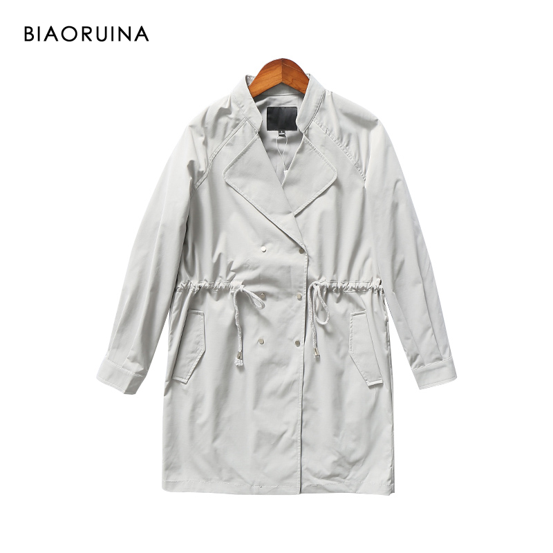 BIAORUINA Women's Solid Double Breasted Elegant Long   Trench   Turn-down Collar Fashion Loose Straight Coat Pleated Drawstring