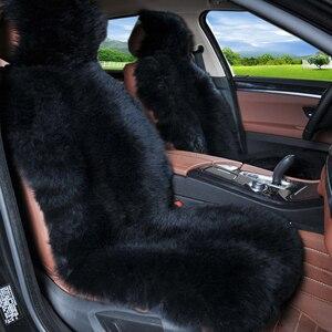 Image 2 - Winter 100% Natuurlijke Lange Wol Auto Seat Cover Mat Warm Australische Schapenvacht Bont Auto Zitkussen Pluche Universele Maat 1 stuk