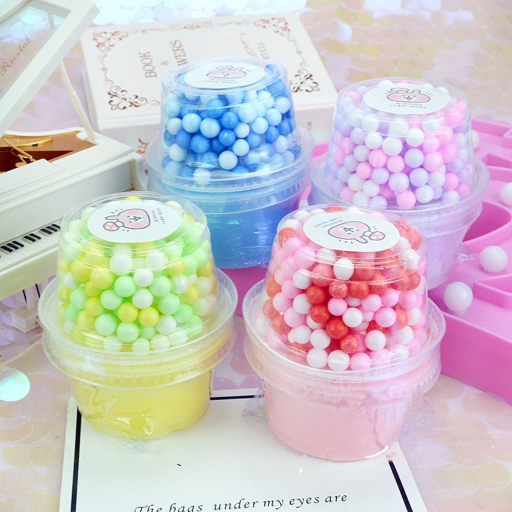 Fluffy Slime With Styrofoam Balls Polymer Clay Super Light Soft Cotton Charms For Slime Kit Antistress Toys