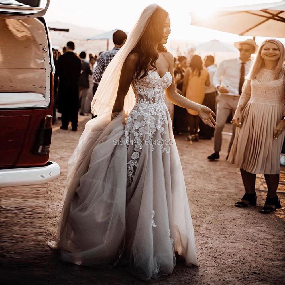Exquisite Sweetheart Country Style 3D Floral Appliques Wedding Dresses Formal A Line Boho Wedding Gown For Brides Robe De Mariee
