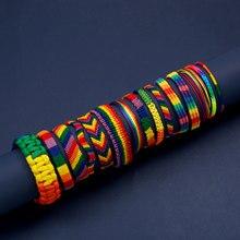 Fait main LGBT Arc-En-Ciel Lesbiennes Gay Fierté Bisexuels Bracelets Pour Femme filles Fierté Tissé Tressé Hommes Couple Bijoux D'amitié