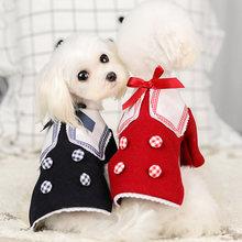 Осенне зимняя теплая шерстяная одежда для собак с бантом плюшевые
