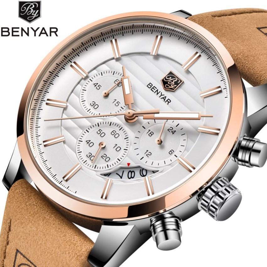 Benyar New Watches Men Luxury Brand Chronograph Men Sports Watches Waterproof Leather Quartz Men's Watch Relogio Masculino