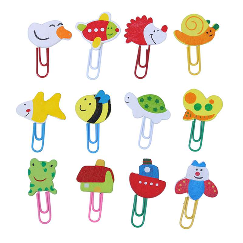 12 Pcs / 1 Set Cute Cartoon Animal Pattern Wooden Paper Note Clips Bookmark Paper Clip Leather Office
