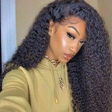 250 gęstość luźne kręcone koronki przodu włosów ludzkich peruk dla kobiet brazylijski Bob koronki przodu peruka wstępnie oskubane Dolago czarny Remy