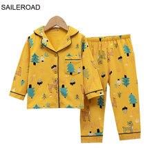 Детские пижамы tuonxye с мультяшным динозавром для девочек детские