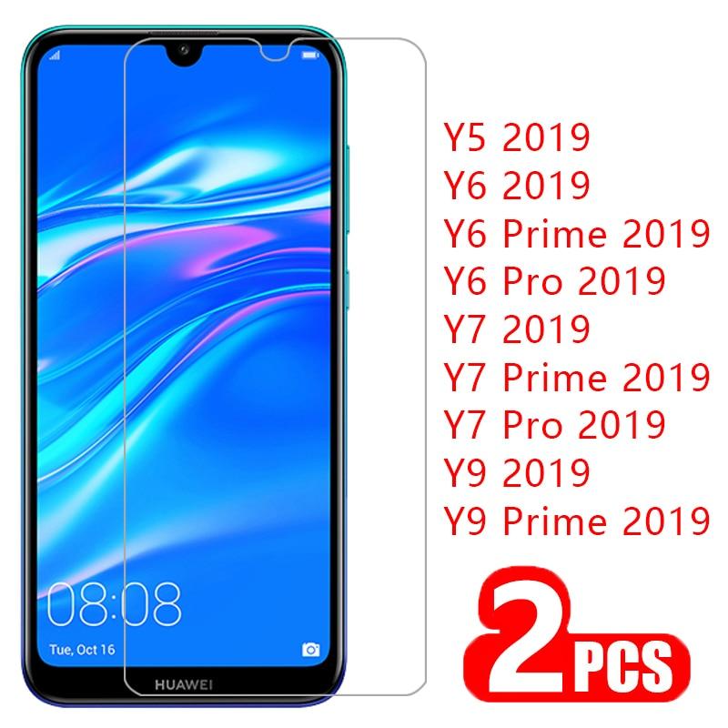 case for huawei y5 y6 y7 y9 pro prime 2019 cover tempered glass screen protector on y 5 6 7 9 5y 6y 7y 9y protective phone coque(China)