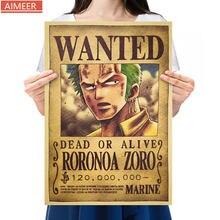 AIMEER One Piece Anime długi miecz Tachi broń postać z kreskówki Roronoa Zoro Nostalgia plakat z papieru pakowego wystrój Painting52 * 36cm