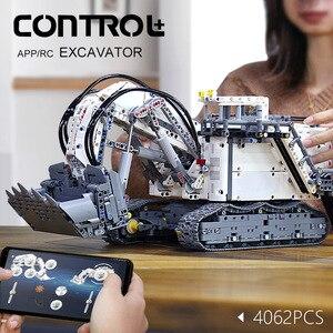 Image 2 - עובש מלך טכני לבני שלט רחוק 42100 Liebherrs חופר R9800 מנוע כוח רכב דגם ערכת אבני בניין צעצועי DIY