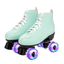 Cowhide Insole Double Line Roller Skates Purple Blue Ultra-Fine Fiber PU Leather Patines Flash Wheel Men Women Retro Quad Skates