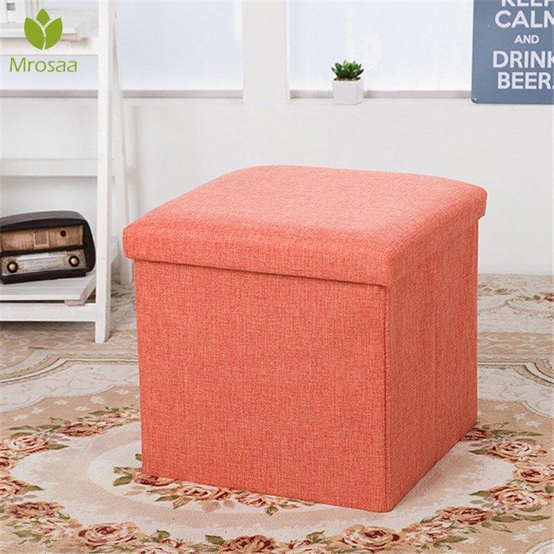 Mobilya'ten Tabureler ve Ayak İskemleleri'de Yeni çok fonksiyonlu katlanabilir kumaş depolamalı tabure tezgah kutusu küçük kanepe Minimalist sanatsal tarzı çocuk sandalye tabure 30*30*30CM