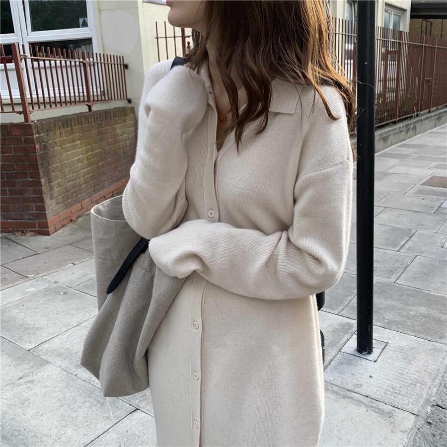 새로운 빈티지 뜨개질 카디건 스웨터 여성 드레스 겨울 긴 스웨터 니트 드레스 느슨한 특대 레이디 드레스 가운 vestidos