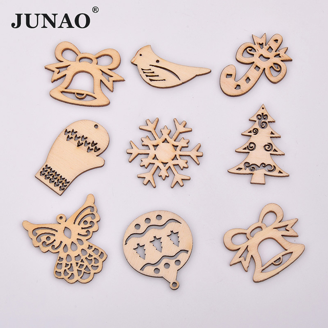 JUNAO 25 35mm Mix Shape Wooden Snowflakes Christmas Decoration for Home Xmas Hanging Ornaments Kids Gifts New Year Decorations
