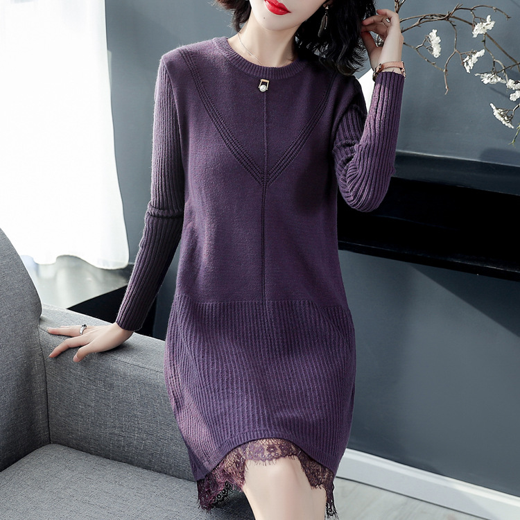 Autumn And Winter New Style Lace Joint Knit Low Waist Jersey Mid-length Sweater Dress Dress