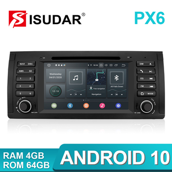 Isudar PX6 1 Din Android 10 Car Multimedia player GPS DVD Player For BMW X5 E53 E39 4GB RAM 64GB ROM Wifi Radio MirrorLink DSP