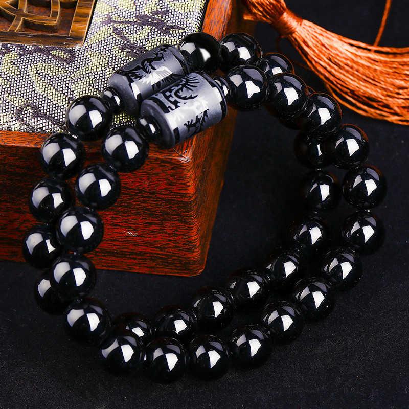 ホットドラゴンフェニックスのカップルブレスレット黒曜石彫仏ラッキーお守りラウンドビーズストランドブレスレットのための