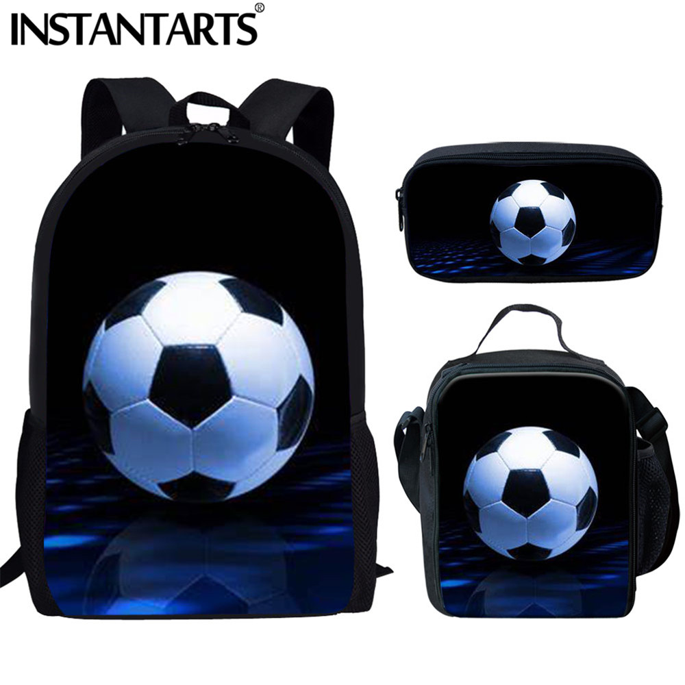 INSTANTARTS Football Soccer Print Men School Bags Teenager Boys 3 Set Primary Casual Backpack Children Book Bags Junior Rucksack