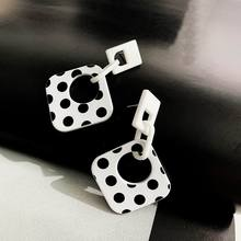 White And Black Pointed Big Acrylic Drop Dangle Earrings For Women 2019 New Geometric Statement Wholesale