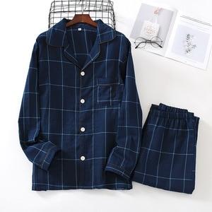 Image 5 - Fresh plaid 100% gauze cotton lovers pajama sets women and men  Autumn long sleeve casual sleepwear women pyjamas