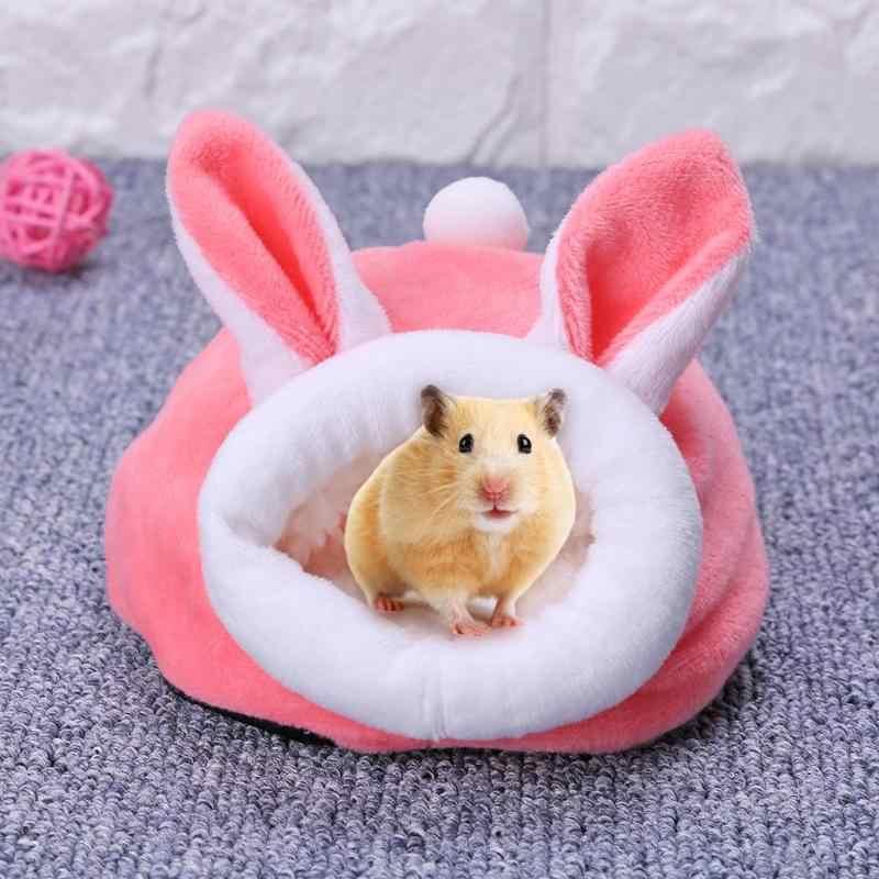 Pet mouse cobaia cama de porco animal de estimação dormir casa de pelúcia quente hamster filhote de cachorro gatinho camas macio ninho esteira mini pequenos animais dormir gaiolas