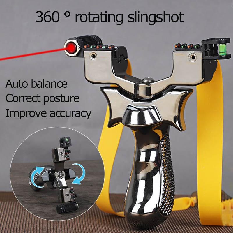 High-Precision Rotatable Resin Slingshot  Laser Slingshot Head Infrared Horizontal Aiming  Outdoor Flat Leather Slingshot Hunt